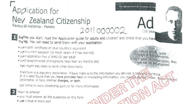 Peter Thiel's application form for New Zealand citizenship.