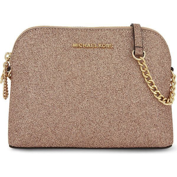 Michael Michael Kors Alex large glitter cross-body bag (£140) ❤ liked on Polyvore featuring bags, handbags, shoulder bags, brown shoulder bag, crossbody purses, glitter purse, michael michael kors handbags and dome purse