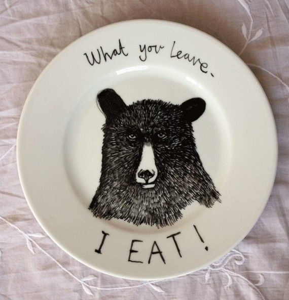 Kitchens, Hungry Bears, Dinner Plates, China Glaze, Art, Design Bags, Hands Drawn, Home Inspiration, Bears Plates