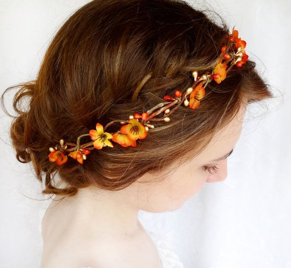 fall hair accessories, bridal hair circlet, autumn flower, burnt orange wedding - FOLKLORIC - flower girl head wreath