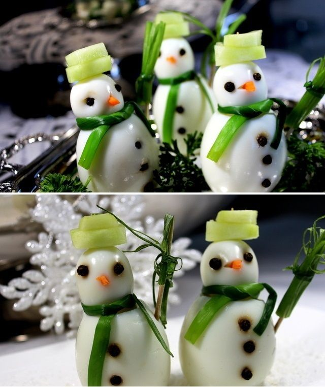 Snowmen Appetizers Ingredients 6 hard boiled chicken eggs 6 boiled quail eggs 1 carrot (for the noses) 1 cucumber (for the hats) 12 green leaves from spring onions peppercorns (for the eyes and buttons) 2 teaspoons chicken patty 3-4 tbs pesto