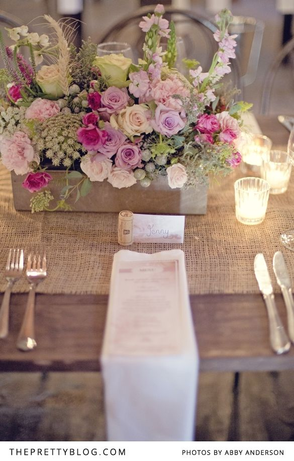 Rustic Chic Wedding - love the burlap runner and wood boxes filled with flowers - great colour combination