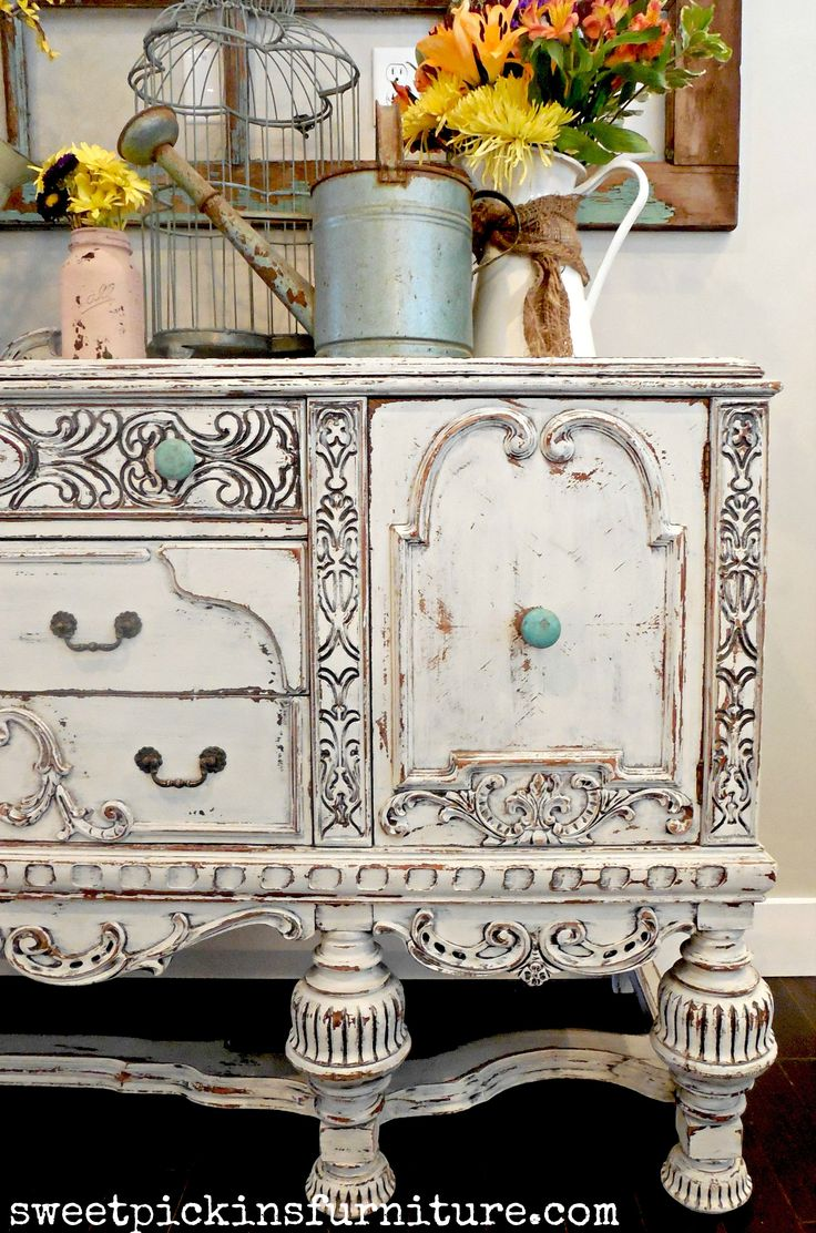 Sweet Pickins Milk Paint - painted antique buffet. love the blue on it