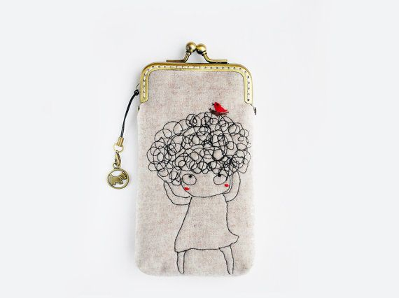 Saturday Stitches: I love her crazy, curly hair! iPhone Case via Etsy