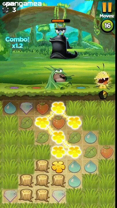 Squash slugs and level up characters in this match-3 puzzle