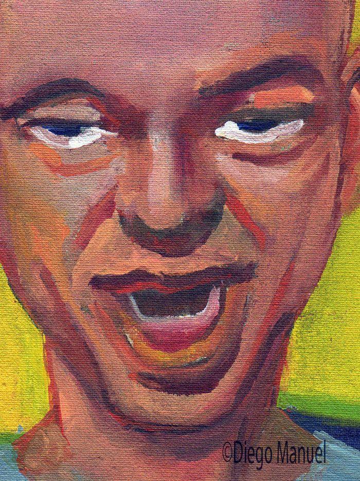 Luca Prodan 3, acrilico sobre tela, 18 x 19 cm, 2015. Venta de pinturas de la serie Rock Nacional Argentino por Diego Manuel