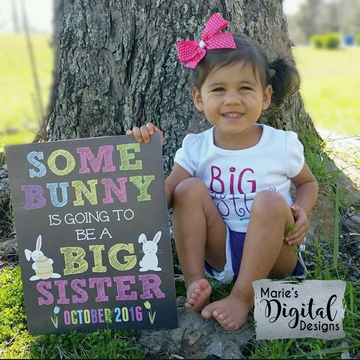 This affordable Easter printable pregnancy announcement photo prop is the perfect way for your little lady man to share the big news that she's going to be a big sister! Printable Chalkboard Pregnancy Announcement by Marie's Digital Designs / Some Bunny Is Being Promoted To Big Sister / Spring Baby Reveal