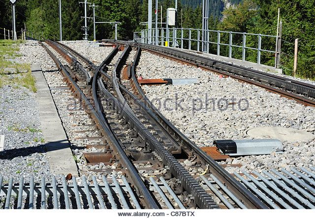 Railway point / turnout - Cog mountain railway track (system Strub), Bernese Oberland, Switzerland - Stock Image