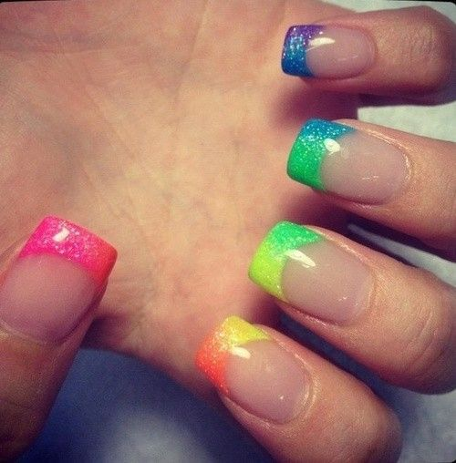 Gradient rainbow french tips