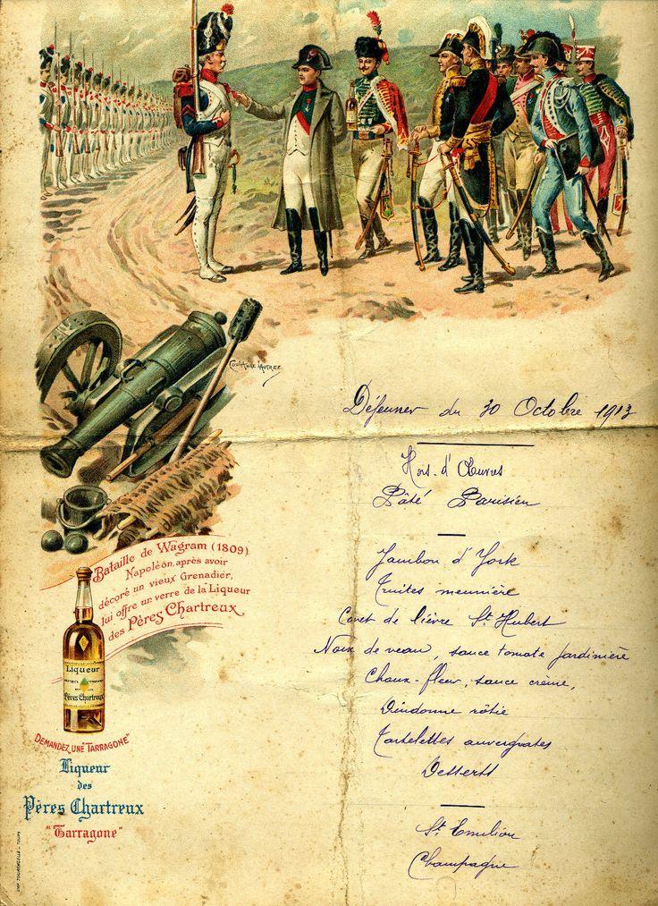 Menu repas  liqueur #Chartreuse Taragonne, thème  #Napoléon Wagram