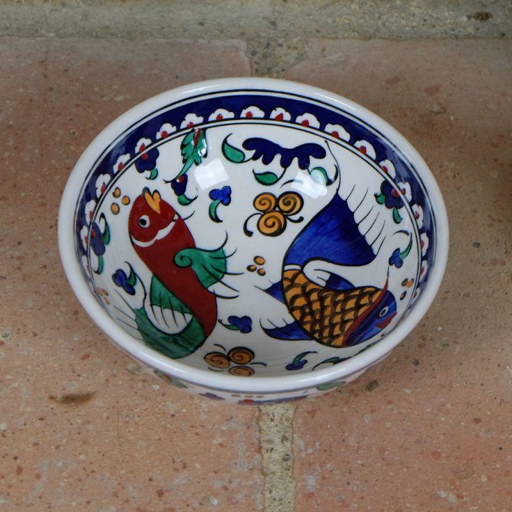 Bol #décoratif en #céramique décoré de #poissons bleu et rouge