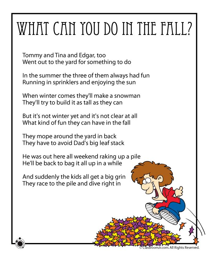 fall kids poems what can you do in the fall - Funny Halloween Poems For Kids