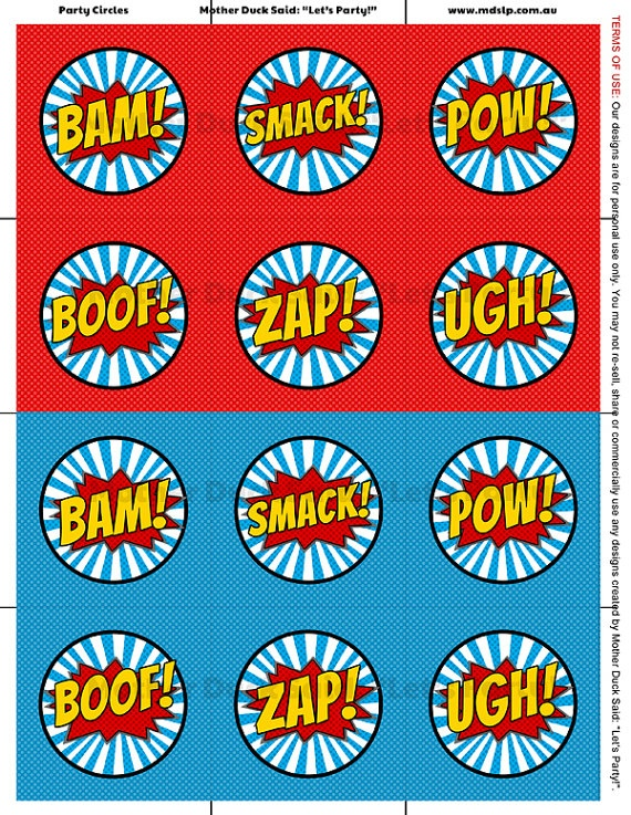 Super Hero Party Circles www.tablescapesbydesign.com https://www.facebook.com/pages/Tablescapes-By-Design/129811416695