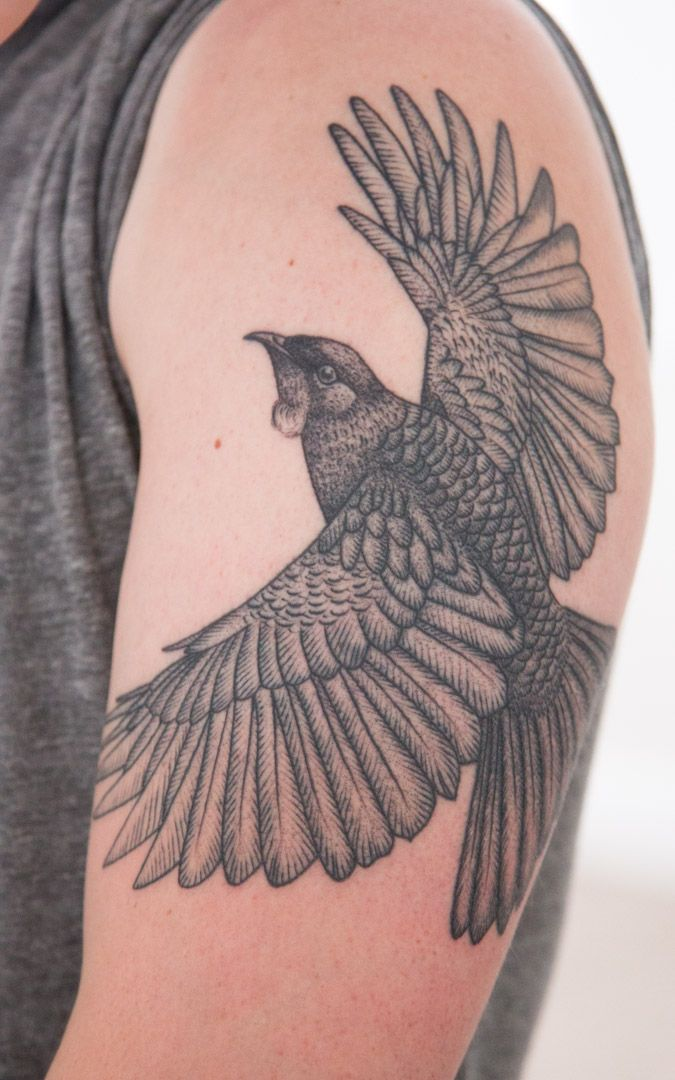 My Tui tattoo.  Richard Warnock @ Two Hands Tattoo, Auckland