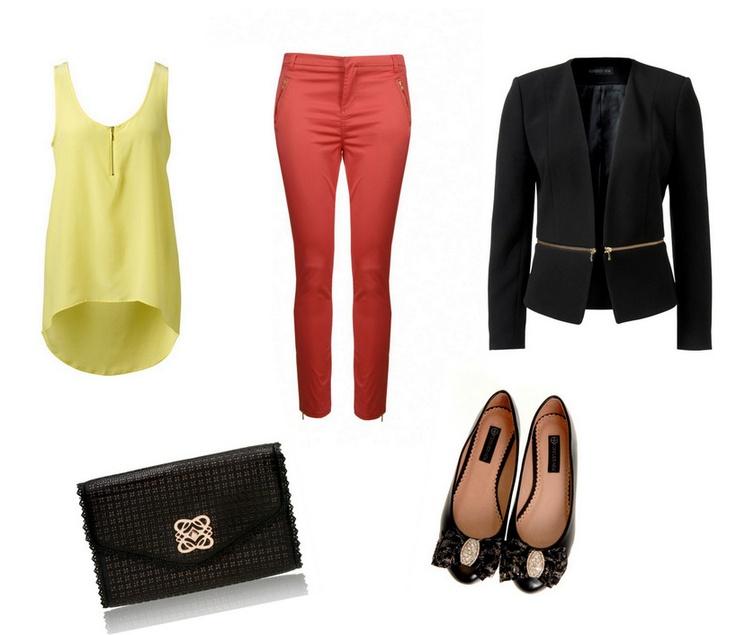 Kilit parçanız siyah blazer ceket. Onu farklı kılmak için renkli parçalardan yardım alın.