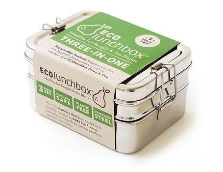 Ecolunchnox. Een 3 in-1 lunchbox met 3 stapelbare delen. Deze handige bento container maakt het eenvoudig om verschillende soorten  voedsel mee te nemen, gescheiden te houden en natuurlijk pletvrij. De 3-in-1 is perfect om een gezond voorgerecht en twee bijgerechten mee te nemen.