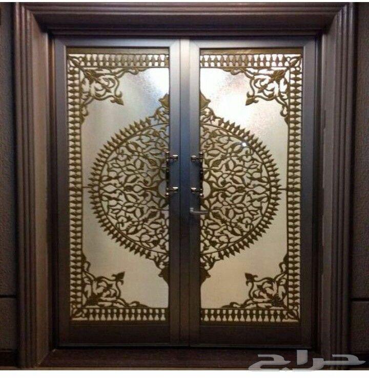 رسم زخارف ابواب و خشب ابواب حديد مشغول ل Double Door Design House Entrance Doors Unique Doors
