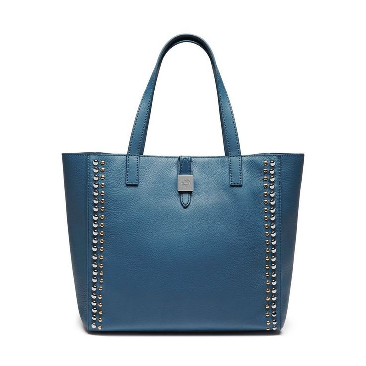 Tessie Tote in Steel Blue Soft Small Grain With Rivets | women | Mulberry