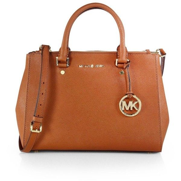 MICHAEL MICHAEL KORS Saffiano Dressy Tote ($328) ❤ liked on Polyvore featuring bags, handbags, tote bags, purses, apparel & accessories, luggage, brown tote, brown leather tote bag, brown handbags and brown tote bag