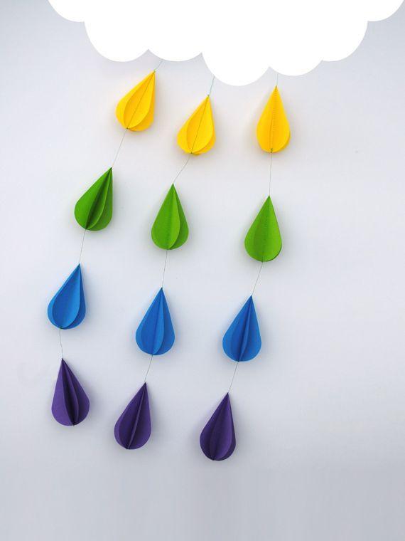 Paper raindrops.