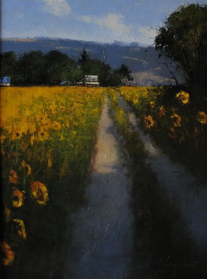 Romona Youngquist - Sunflower Sunset- Oil - Painting entry - June 2012   BoldBrush Painting Competition