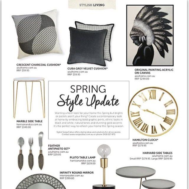 The spring edition of @sydneyhillsliving magazine is out and includes great tips for a  Spring Style Update for your home by @sonjacallus. Featuring our Marble & Brass Table and Pluto Table Lamp; grab your copy today!  #interiordesign #homewares #interiors #brass #marble #interiorstyling