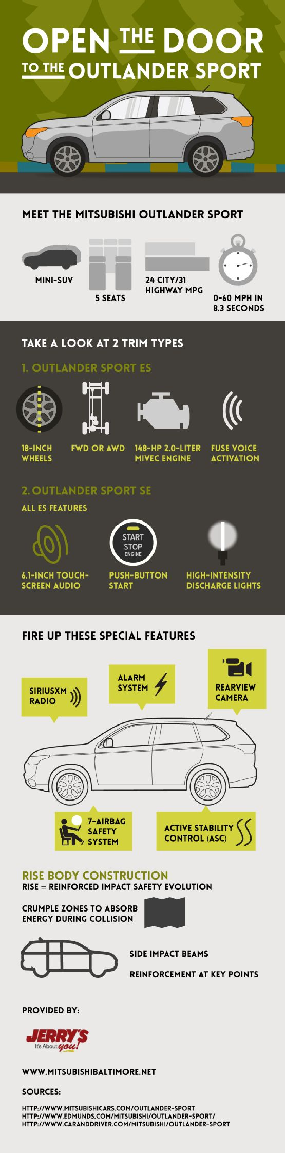Rearview camera, SiriusXM radio, 7-airbag safety system—these are just some of the amazing features you'll find in the Mitsubishi Outlander Sport! Take a look at this Baltimore new car infographic to see other Mitsubishi Outlander Sport features.