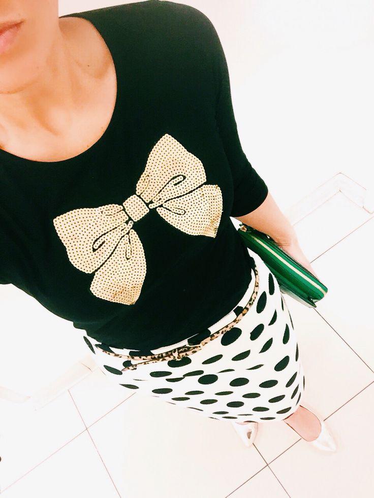 Sequins Bow. Black. Polka Dot. Skirt. Gold Flats. Leopard Belt.  Modest // Fashion