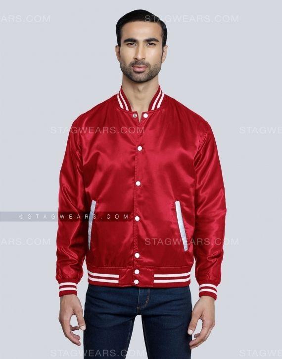 Red Satin Baseball Jacket Get Hold Of The Super Stylish Piece Now Baseball Jacket Jackets Varsity Bomber Jacket