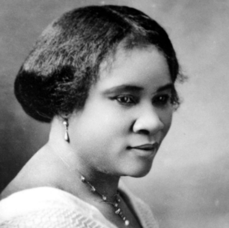C.J. Walker, the illiterate daughter of freed slaves, became America's first black female millionaire for a hair treatment she invented in 1905. Go girl!