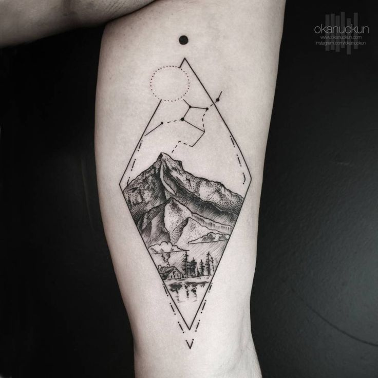 Landscape tattoo on the left inner arm. Tattoo... - Little Tattoos for Men and Women