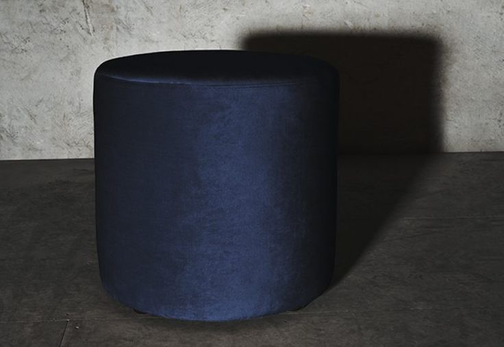 Petite Pouf Midnight Blue. The fabric of the sofa is resistant polyester velvet.  Frame constructed of plywood. See more at: http://layeredinterior.com/product/petite-pouf/