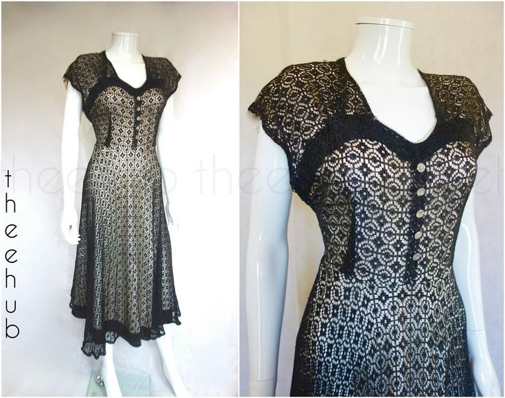 Vintage 1930s 40s Charming Southern Belle Nude Satin Silk Lace Soiree Dress