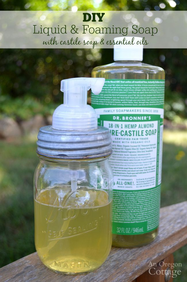 DIY Castile foaming (or regular) soap with essential oils recipe - you won't believe how easy this is and how great it foams! Perfect for both dishes AND hands - no need for two bottles and easy on the environment.