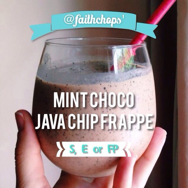 WHAT IS MY NEW FAV THING EVAR, YOU ASK?! My Trim Healthy Mama-appropro Mint Choco Java Chip Frappe I reply.  Basic recipe: - 1 cup unsweetened almond milk - 6 or so ice cubes - 1 scoop of whey pro...