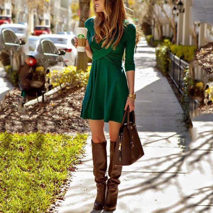 Dress Fashion Women's Cross Long Sleeve Dress