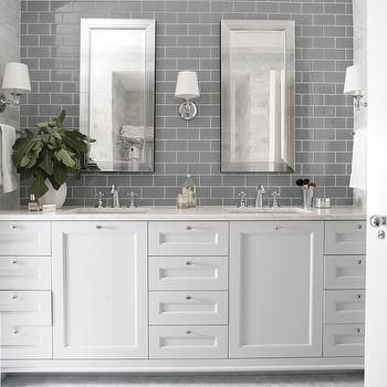 Gray Subway Tiles, Transitional, bathroom, Heather Garrett Design