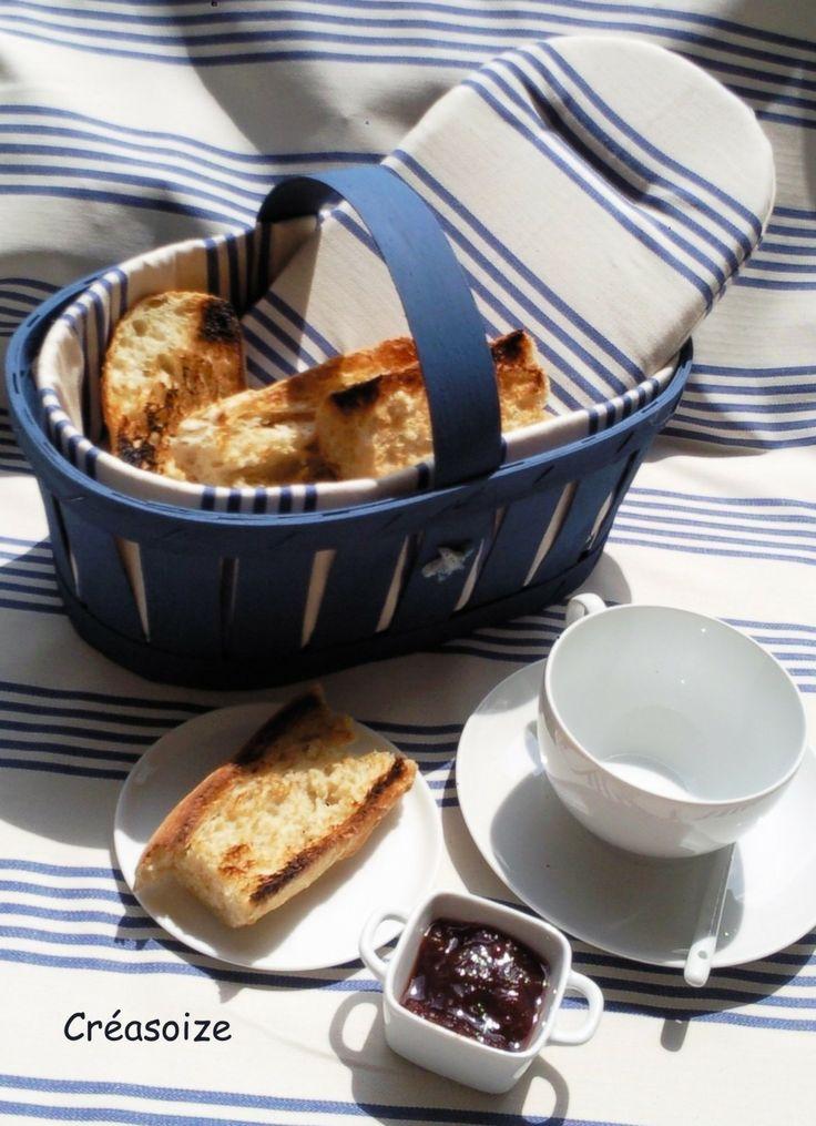 Panier bleu molletonné, garde au chaud vos tartines ! : Cuisine et service de table par creasoize