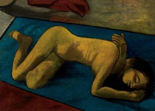Felice Casorati Nudo sul tappeto, 1950 Olio su compensato riportato su tavola, 58x80