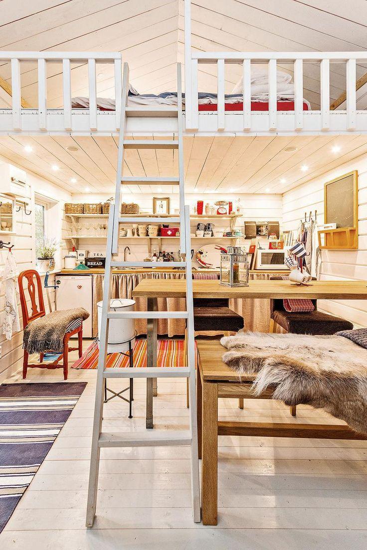 Tiny 160 sq ft + loft guest house on a farm in Sweden. | www.facebook.com/SmallHouseBliss