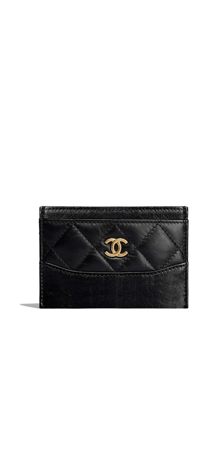 Porta cartão, couro de novilho envelhecido e macio, metal prateado & metal dourado-preto - CHANEL