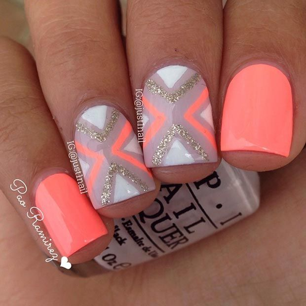 Neon Orange Nail Design for Short Nails