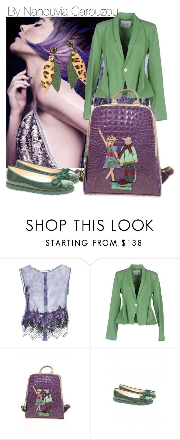 """purple backpack love me hold me tight it"" by nanouyia on Polyvore featuring Alberta Ferretti and Annarita N."