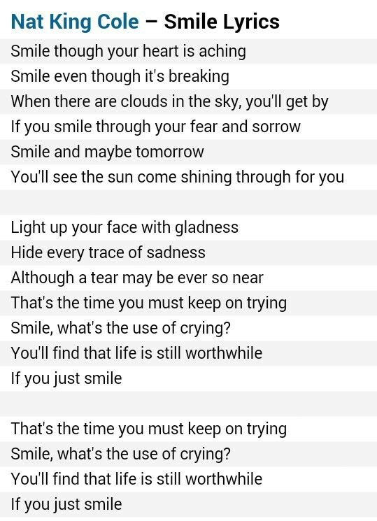 Nat King Cole - Smile (Lyrics HD) - YouTube