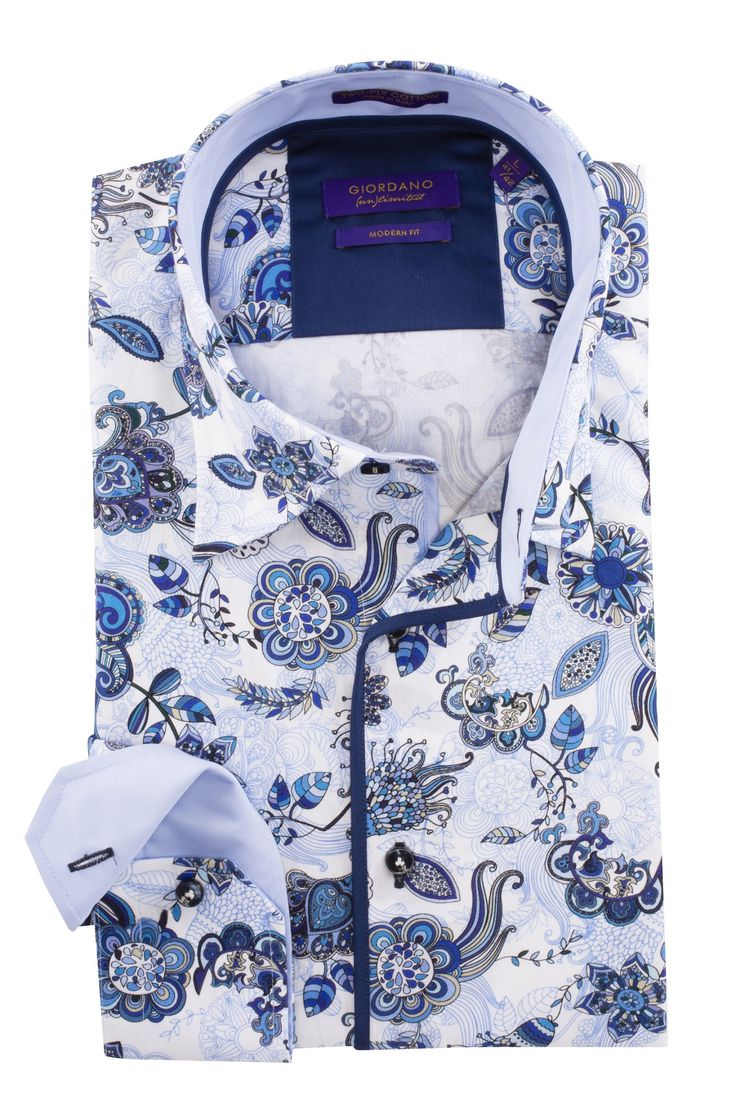 Nieuw bij Shirtsupplier.nl: Blue flower-power overhemden van Giordano un limited. https://www.shirtsupplier.nl/nl/overhemden/blue-flower-power-peasley-giordano-un-limited-overhemd