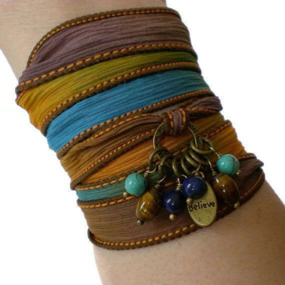 silk ribbon wrap bracelet believe charm boho wrist by jcudesigns, £12.00
