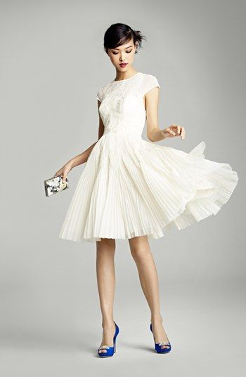 perfect amount of twirl: Fit Flare Dress, Baker London, Rehearsal Dinners, Dinners Dresses, Blue Shoes, Flare Dresses, White Dresses, Ted Baker, Badgley Mischka