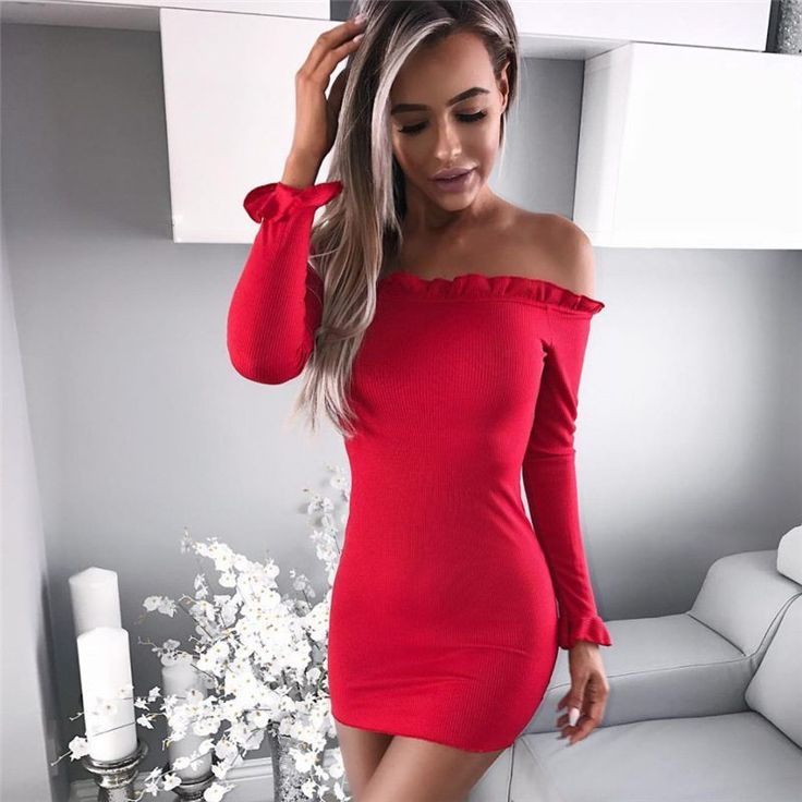 Sexy Off Shoulder Ruffles Knitted Red Dress