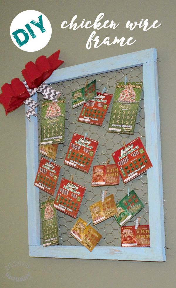 DIY Chicken Wire Frame w  NJ Lottery Games Looking for a fun way to display holiday cards pictures or lotto tickets? Make this chicken wire frame in no time!