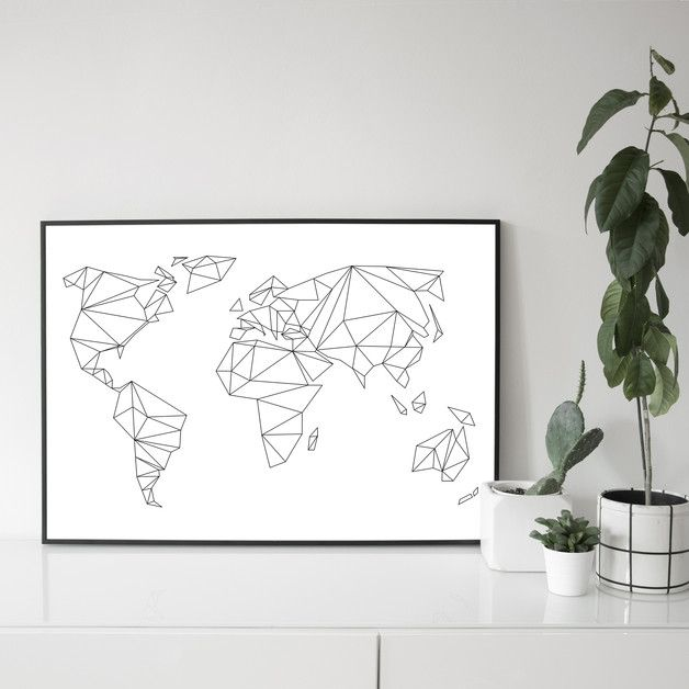 Minimalistisches Poster mit geometrischen Kontinenten, Weltkarte, reisen / minimalistic art print with geometric continents, traveling poster made by na.hili via DaWanda.com